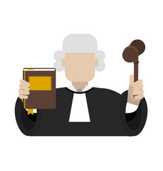 Judge with book and gavel vector