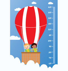 Kids height chartsmiling children fly in a hot vector