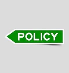 Label sticker in green color arrow shape as word vector