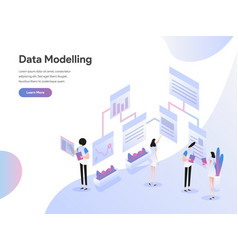 landing page template data modeling isometric vector image