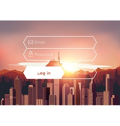 Login box with city sunset background vector