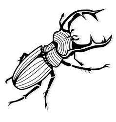 Male stag beetle lucanus cervus tattoo vector
