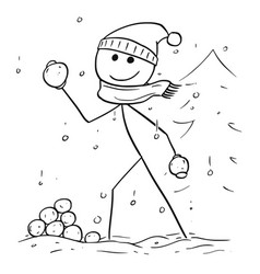 Man holding and throwing snowball during winter vector