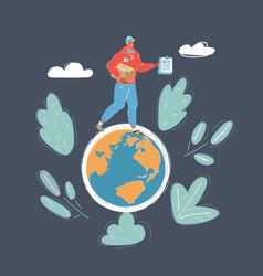 man walking on earth vector image