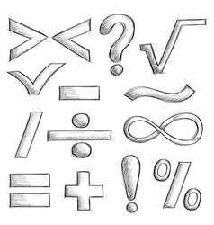 mathematics and punctuation symbols hand drawn vector image