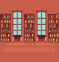 Modern library empty interior with bookcase vector