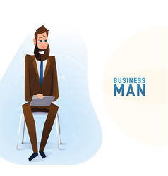 modern tall business man in the office sitting on vector image
