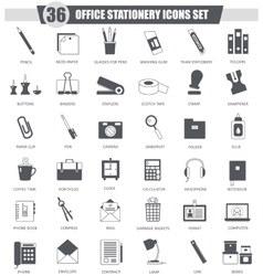 Office stationery black icon set Dark grey vector