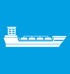 Oil tanker ship icon white vector