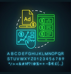 Paid ads neon light icon online marketing vector