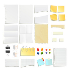Paper Notes And Clips Object Set vector image