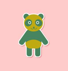 paper sticker on stylish background panda bear vector image
