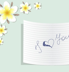 Plumeria with a note about love vector image