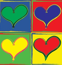Pop art styled set of hearts vector image