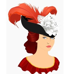 portrait of young lady in hat vector image
