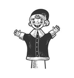 Puppet puppeteer hand sketch vector