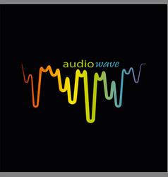 rainbow pulse player logo on black vector image