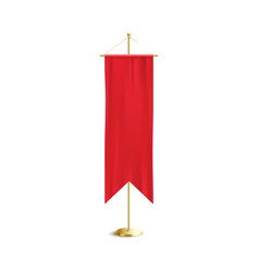 Realistic red medieval banner flag on golden pole vector