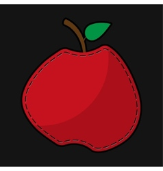 Red seam apple with shadow vector