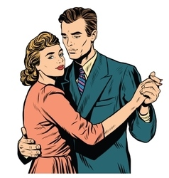 Retro man and woman dancing vector image