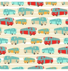 Retro seamless travel pattern of buses vector image