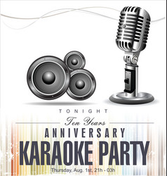 Retro vintage microphone anniversary karaoke vector