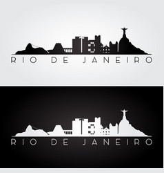 Rio de janeiro skyline and landmarks silhouette vector