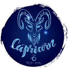 Round zodiac sign capricorn vector