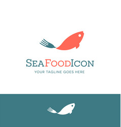 seafood logo fish with fork utensil shaped tail vector image