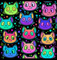 seamless cute bright cat heads vector image