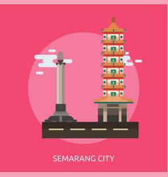 Semarang city of indonesia conceptual design vector