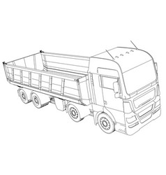 Semi-trailer dump truck sketch isolated on white vector