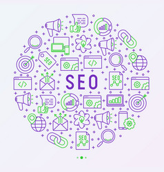 seo and development concept in circle vector image