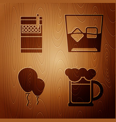 Set wooden beer mug open cigarettes pack box vector