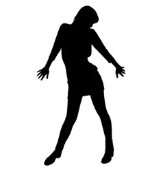 silhouette of a woman in a short dress vector image