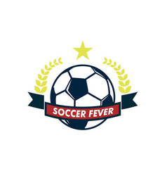 soccer fever elegant ribbon footbal club emblem vector image