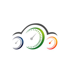 speed up speedometer gauge logo design vector image