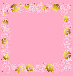 square frame of white and golden flowers vector image