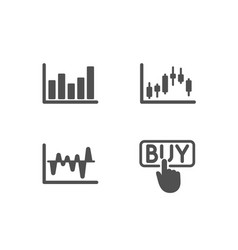 Stock analysis column chart and candlestick graph vector