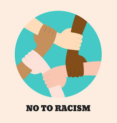 Stop racism icon motivational poster against vector