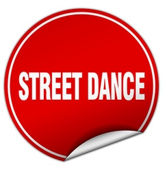 Street dance round red sticker isolated on white vector