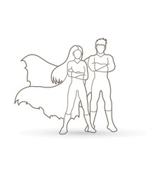 Super hero man and woman standing outline vector