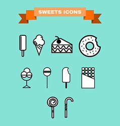 Sweet treats icon set vector image