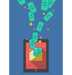 Tablet with banknote in envelope vector image