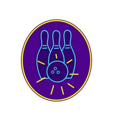 ten pin bowling neon sign vector image