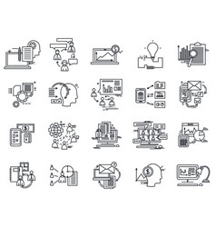 thin line icons set business elements vector image