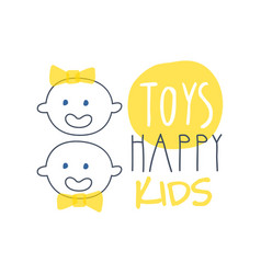 toys happy kids logo colorful hand drawn vector image
