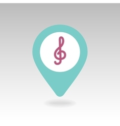 Treble clef pin map icon Map pointer markers vector