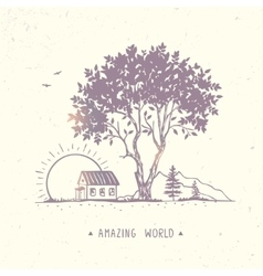 tree and house vector image