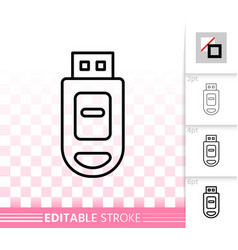 usb flash simple black line icon vector image